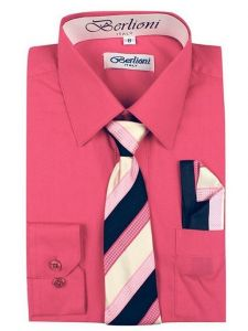 Berlioni Big Boys Fuchsia Striped Necktie Hanky 3 Pc Dress Shirt Set 8-20