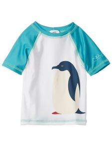 Azul Little Boys White Blue Penguin Happy Feet UV Protection Rash Guard 2T-7
