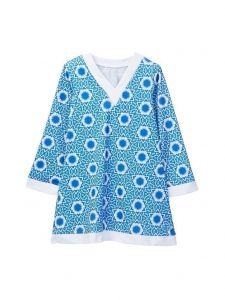 Azul Little Girls Blue White Namaste Long Sleeve V-Neck Tunic 4-7