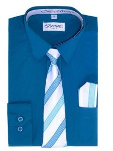 Berlioni Little Boys Teal Striped Necktie Hanky 3 Pc Dress Shirt Set 2-6