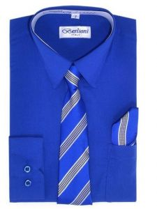 Berlioni Little Boys Royal Blue Striped Necktie Hanky 3 Pc Dress Shirt Set 2-6