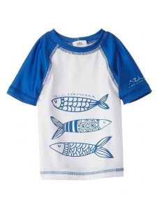 Azul Big Boys White Blue Portuguese Fish UV Protection Rash Guard 8-14