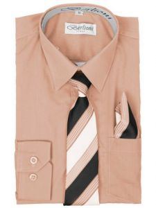 Berlioni Big Boys Blush Striped Necktie Hanky 3 Pc Dress Shirt Set 8-20