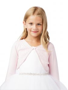Big Girls Pink Long Sleeve Beaded Button Closure Knit Bolero Cardigan 8-14