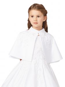 Tip Top Kids Little Girls White Satin Floral Embroidered Applique Cape 2-14