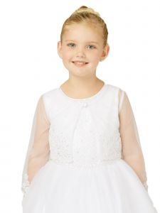 Tip Top Kids Little Girls Ivory Soft Mesh Long Sleeves Lace Bolero 2-6