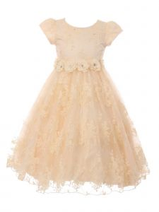 Big Girls Champagne French Chantilly Lace T-Length Junior Bridesmaid Dress 8-12