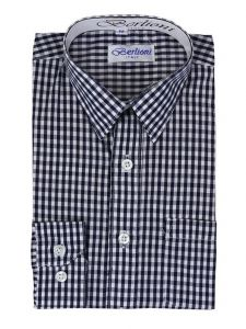 Berlioni Little Boys Royal Blue Checkered Plaid Long Sleeved Shirt 4-6