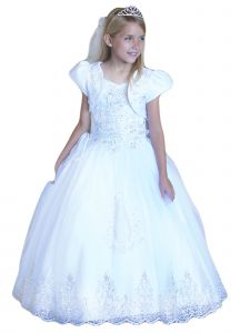 Angels Garment Big Girls White Satin Our Lady of Guadalupe Communion Dress 7-18
