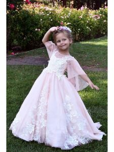 TriumphDress Girls Pink Feather Lace Applique Aziza Flower Girl Dress 4-8