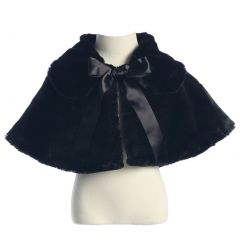 Sweet Kids Big Girls Black Fluffy Faux Ribbon Closure Cape 8-12