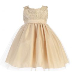 Lito Little Girls Gold Glitter Corded Top Shiny Tulle Occasion Dress 2T-6