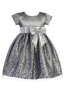 Lito Little Girls Silver Polka Dot Tulle Shiny Satin Bow Christmas Dress 2T-6