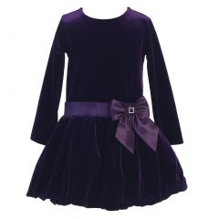Lito Big Girls Purple Stretch Velvet Bow Accent Bubble Occasion Dress 7-10