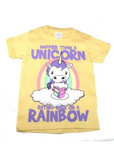 "Girls Yellow ""Happier Than A Unicorn"" Print Soft Cotton T-Shirt 6-16"