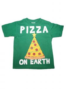 "Girls Green ""Pizza On Earth"" Print Short Sleeve Cotton T-Shirt 6-16"