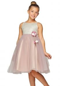 Cinderella Couture Big Girls Champagne Sequin Tulle Junior Bridesmaid Dress 8-12