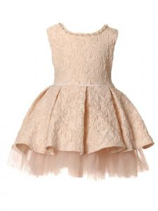 Baby Girls Pink Pearl Stone Embossed Jacquard Pleated Flower Girl Dress 6-24M