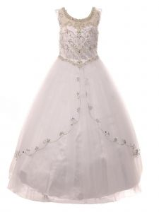 Big Girls White Curtain Layers Stone Adorned Tulle Pageant Dress Gown 8-20