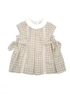 Coquelicot Baby Girls Beige Checkered Short Sleeve Lace Trim Adorned Dress 3-18M