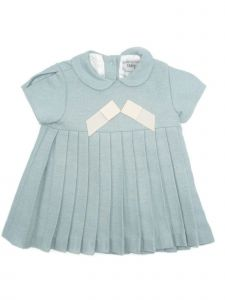 Coquelicot Baby Girls Blue Contrast Bow Bloomers Pleated Dress 3-9M