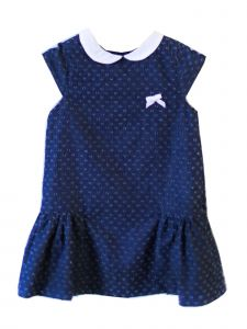 Coquelicot Little Girls White Navy Satin Ribbon Capri Denim Powerty Dress 2T-6
