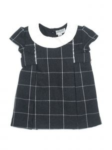 Coquelicot Little Girls Dark Gray Short Sleeve Collar Trim Detail Dress 2-3T