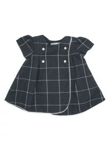 Coquelicot Girls Dark Gray Ivory Checkered Lace Trim Adorned Dress 3M-2T
