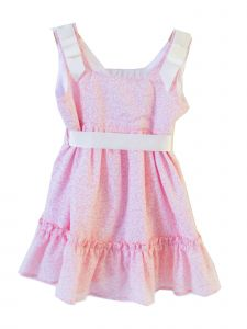 Coquelicot Baby Girls Pink Floral Ribbon Fiji Gasa Powerty Dress 3-18M
