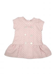 Coquelicot Baby Girls Pink Decorative Button Bloomers Jacquard Dress 3-12M