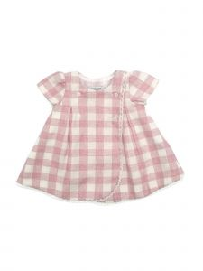 Coquelicot Girls Pink Ivory Checkered Lace Trim Button Adorned Dress 3M-2T