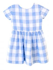 Coquelicot Little Girls White Blue Knot Rimini Cuadros Dobles Dress 2-4T