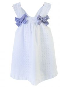 Coquelicot Girls White Navy Bow Accent Santorini Cotton Calado Dress 3M-2T