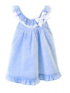 Coquelicot Girls Blue Embroidered Trim St Barths Rayas Otomn Dress 3M-2T