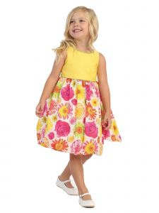 Angels Garment Big Girls Yellow Multi Floral Knee-Length Easter Dress 7-10