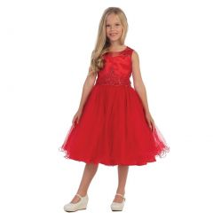 Angels Garment Girls Red Bead Applique Junior Bridesmaid/Flower Girl Dress 6-16