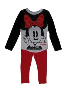 Disney Little Girls Black White Red Minnie Print 2 Pc Legging Outfit 2-4T