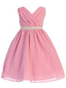 Ellie Kids Big Girls Dusty Rose Cross Body Rhinestone Chiffon Easter Dress 8-14