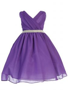 Ellie Kids Big Girls Purple Cross Body Rhinestone Chiffon Easter Dress 8-14