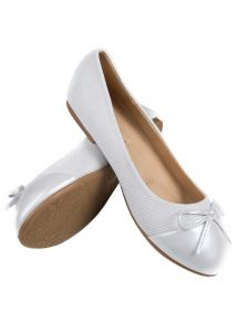 Pipiolo Girls White Bow Elastic Strap Mary Jane Shoes 11-3 Kids