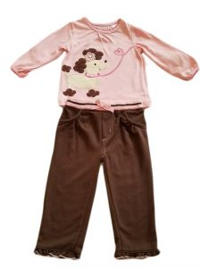 Kids Brand Baby Girls Dusty Pink Puppy Applique Top Ruffle Pants Outfit 12-24M