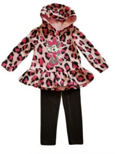 Baby Girls Pink Minnie Mouse Animal Print Ruffle Hoodie Legging Outfit 12-24M
