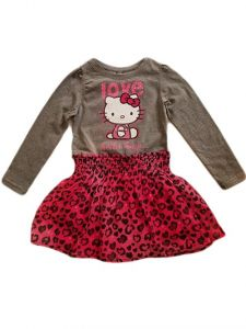 Little Girls Grey Love Hello Kitty Top Chiffon Print Bottom Dress 2T-6X