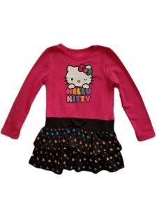 Little Girls Fuchsia Hello Kitty Top Hearts Ruffle Bottom Dress 5-6X