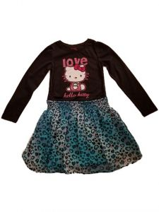 Little Girls Black Love Hello Kitty Top Chiffon Print Bottom Dress 2T-6X