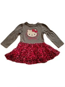 Girls Grey Hello Kitty Long Sleeve Top Chiffon Print Bottom Dress 2T-10