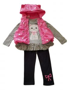 Kids Brand Little Girls Pink Hooded Vest Grey Kitty Shirt Legging Outfit 4-6X