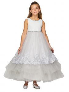 Big Girls Metallic Trim Stones Sash Junior Bridesmaid Dress 2-12