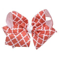 Reflectionz Girls Light Red White Ribbon Knot Grosgrain Small Clippie Accessory