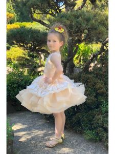 Girls Cream Floral Lace Applique Cascade Ruffle Hudson Flower Girl Dress 4-8
